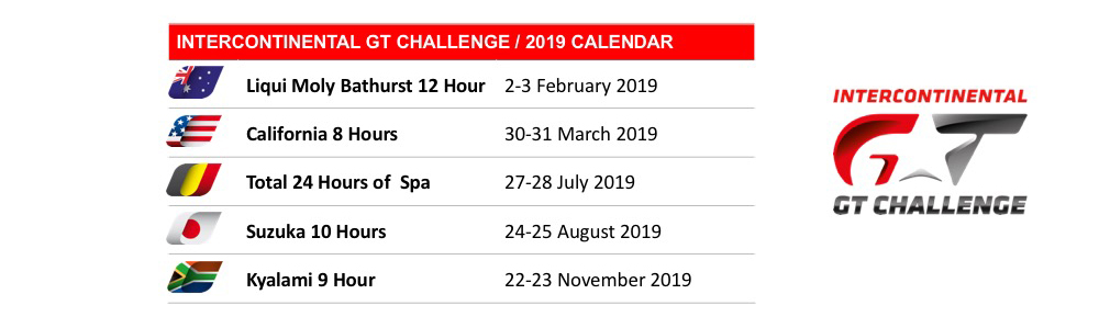 The 2019 Intercontinental GT Challenge Starts On February 1 3 With Traditional Season Opener At Liqui Moly Bathurst 12 Hour