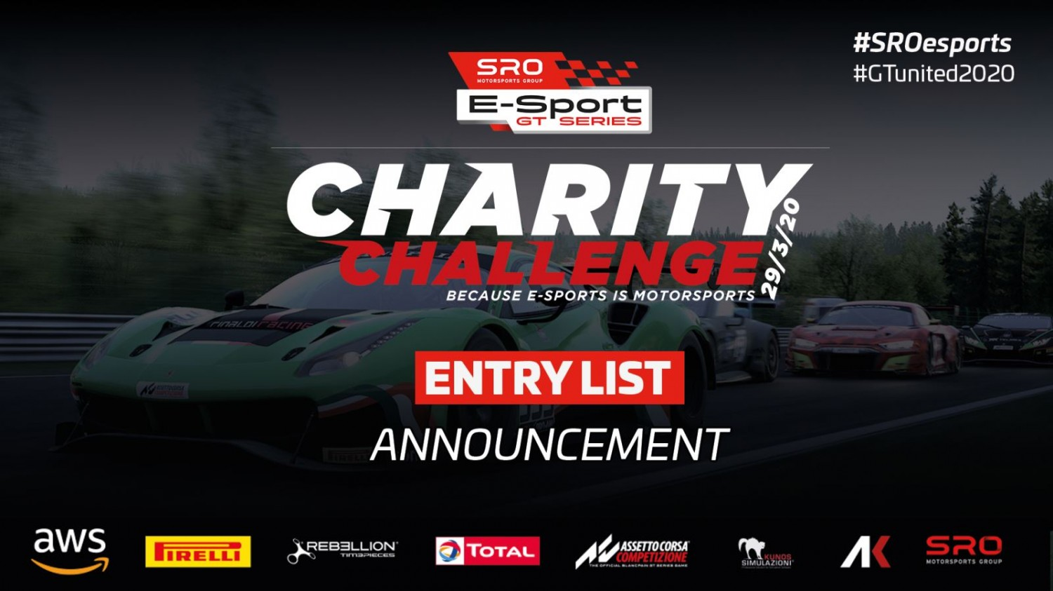 Virtual GT racing takes centre stage at Monza for SRO E-Sport GT Series Charity Challenge