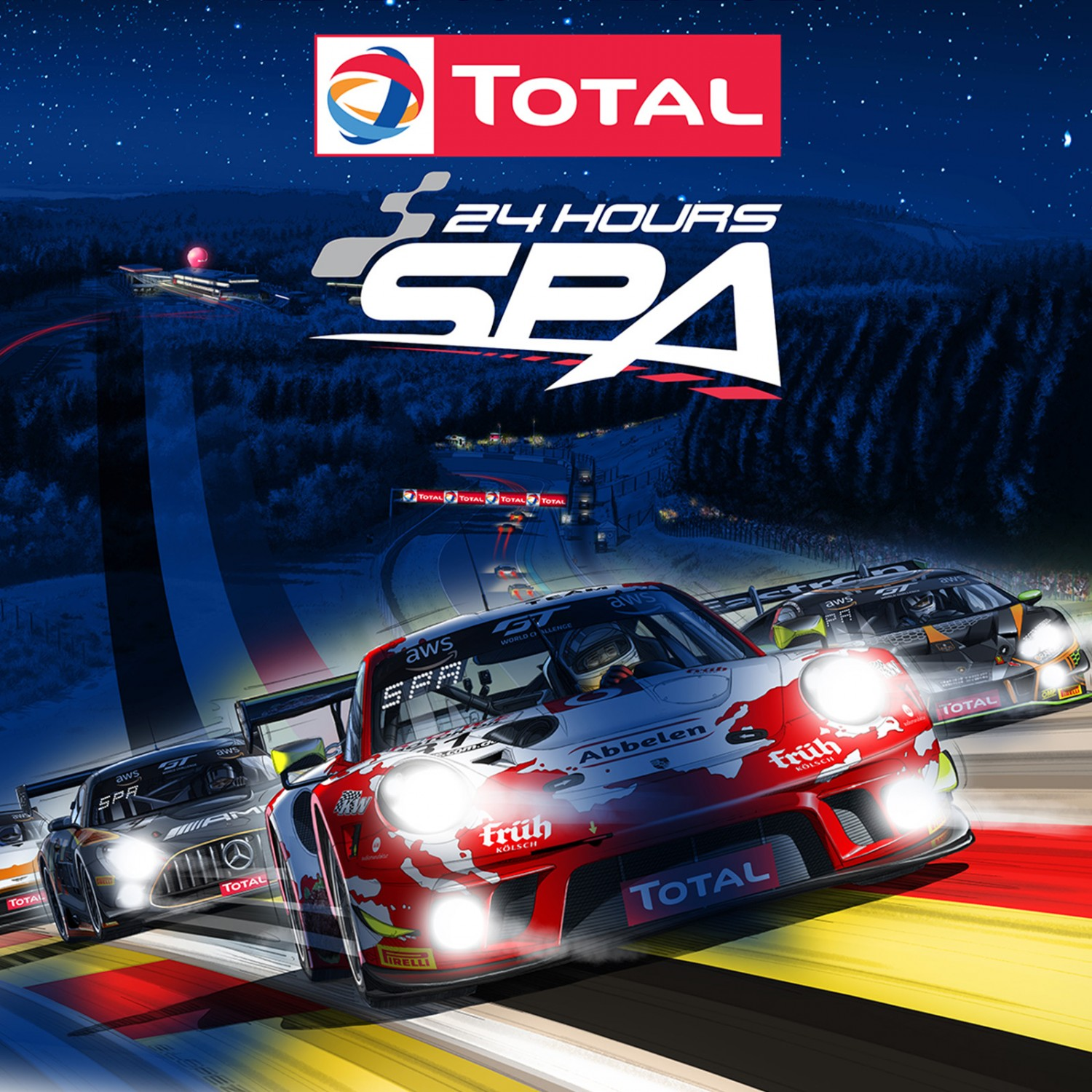 Total 24 Hours of Spa marks 100-day countdown with dazzling night racing poster